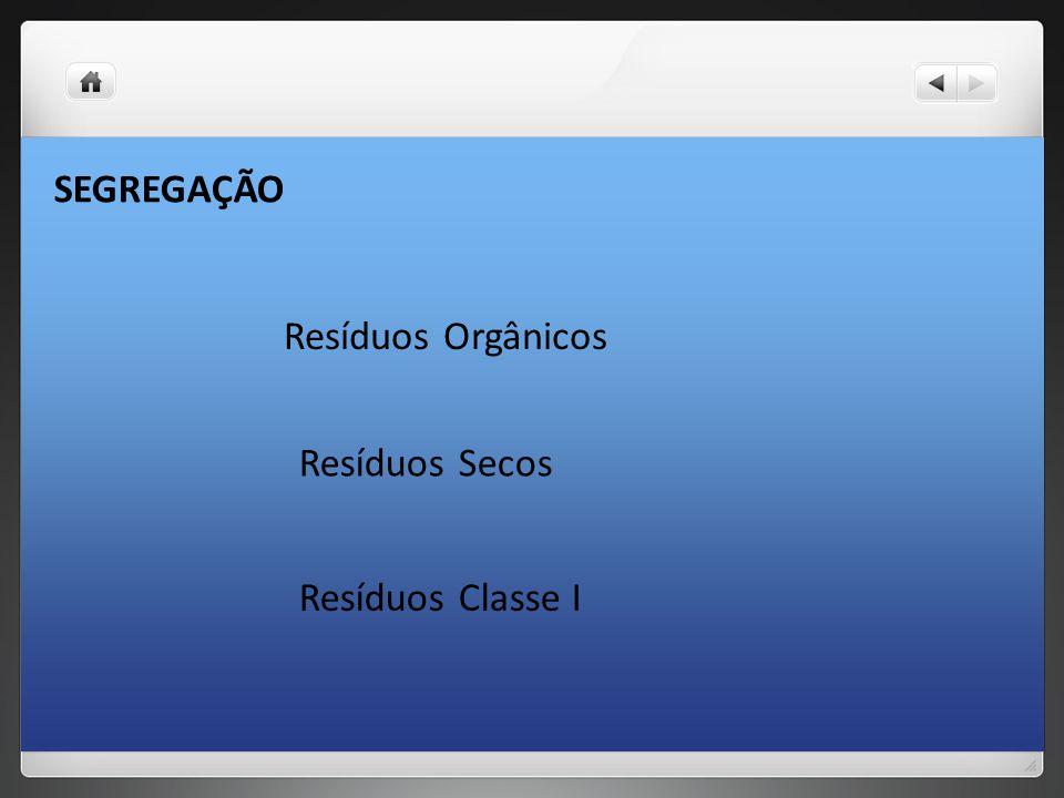 SEGREGAÇÃO Resíduos Orgânicos Resíduos Secos Resíduos Classe I