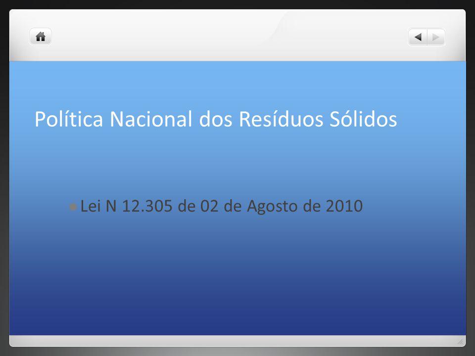 Política Nacional dos Resíduos Sólidos Lei N 12.305 de 02 de Agosto de 2010