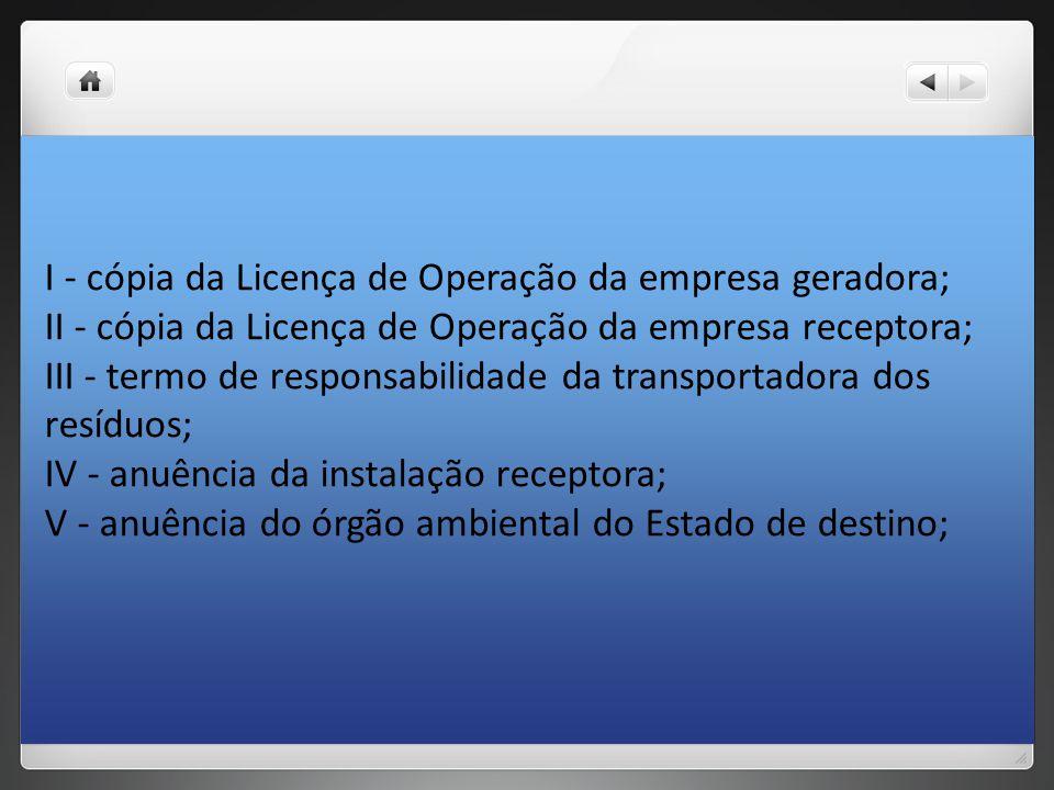 I - cópia da Licença de Operação da empresa geradora; II - cópia da Licença de Operação da empresa receptora; III - termo de responsabilidade da trans
