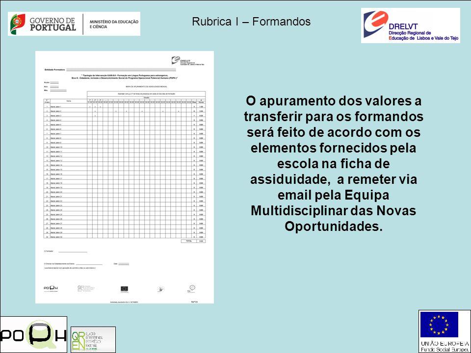Rubrica I – Formandos O apuramento dos valores a transferir para os formandos será feito de acordo com os elementos fornecidos pela escola na ficha de