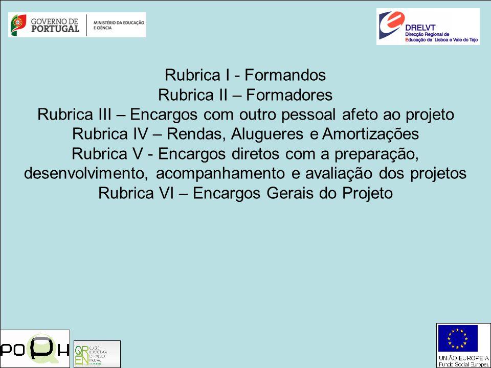 Rubrica I - Formandos Rubrica II – Formadores Rubrica III – Encargos com outro pessoal afeto ao projeto Rubrica IV – Rendas, Alugueres e Amortizações
