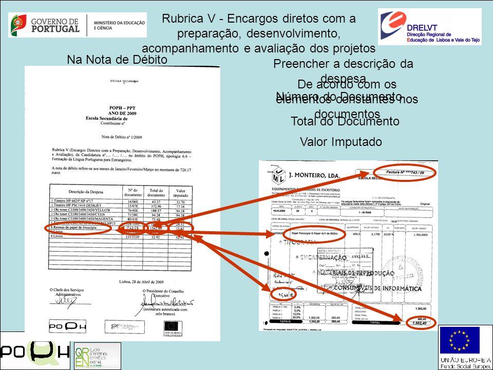 Rubrica V - Encargos diretos com a preparação, desenvolvimento, acompanhamento e avaliação dos projetos Preencher a descrição da despesa Total do Docu