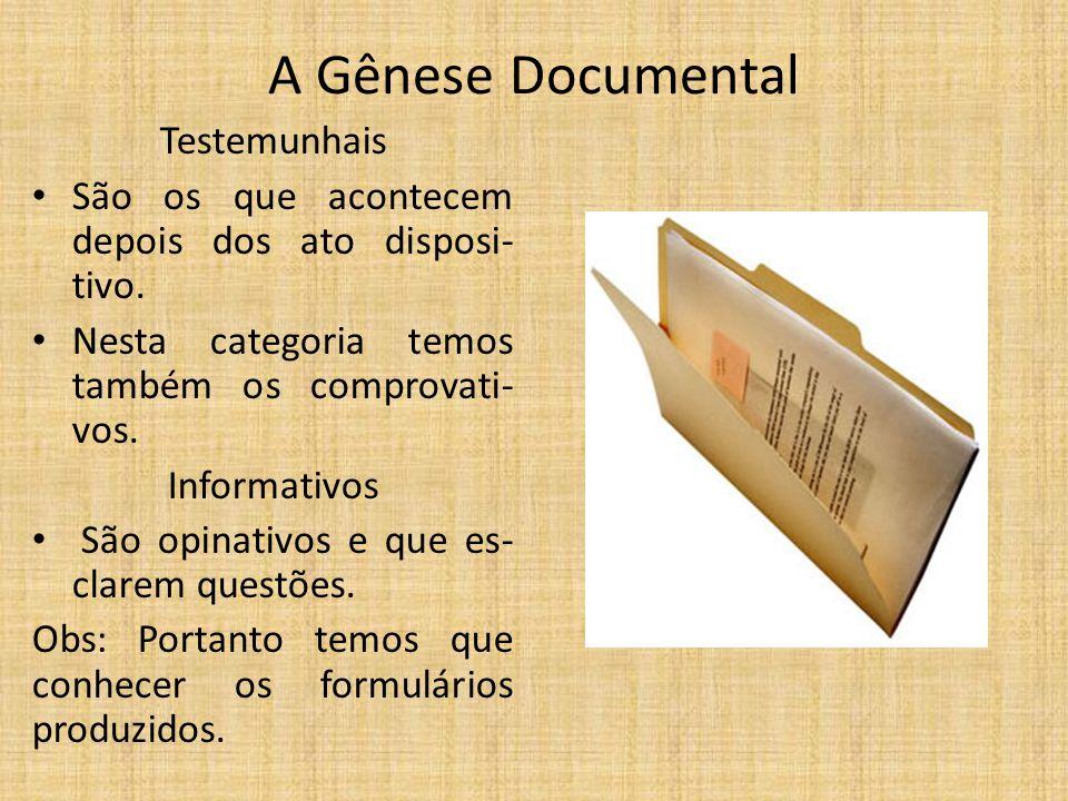 A Gênese Documental Testemunhais São os que acontecem depois dos ato disposi- tivo. Nesta categoria temos também os comprovati- vos. Informativos São