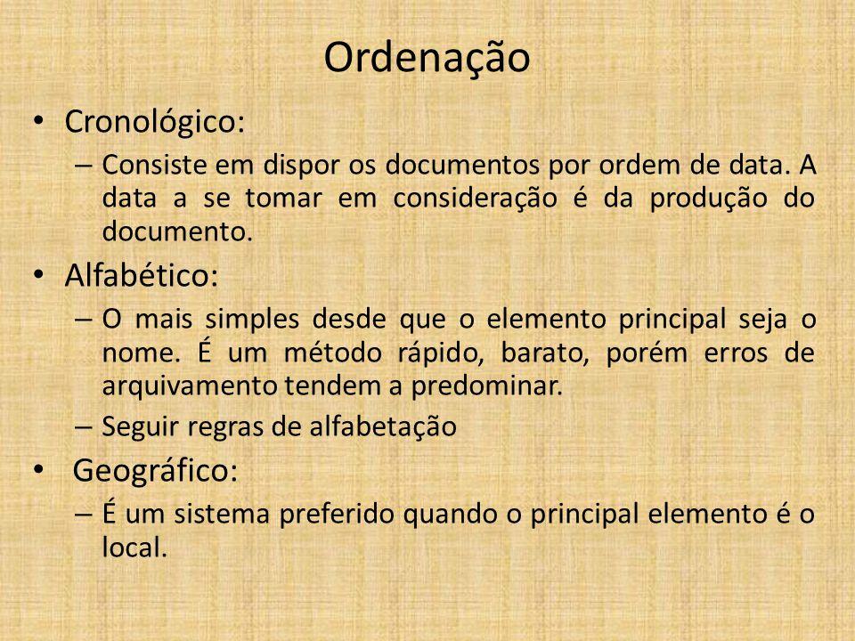 Ordenação Cronológico: – Consiste em dispor os documentos por ordem de data. A data a se tomar em consideração é da produção do documento. Alfabético:
