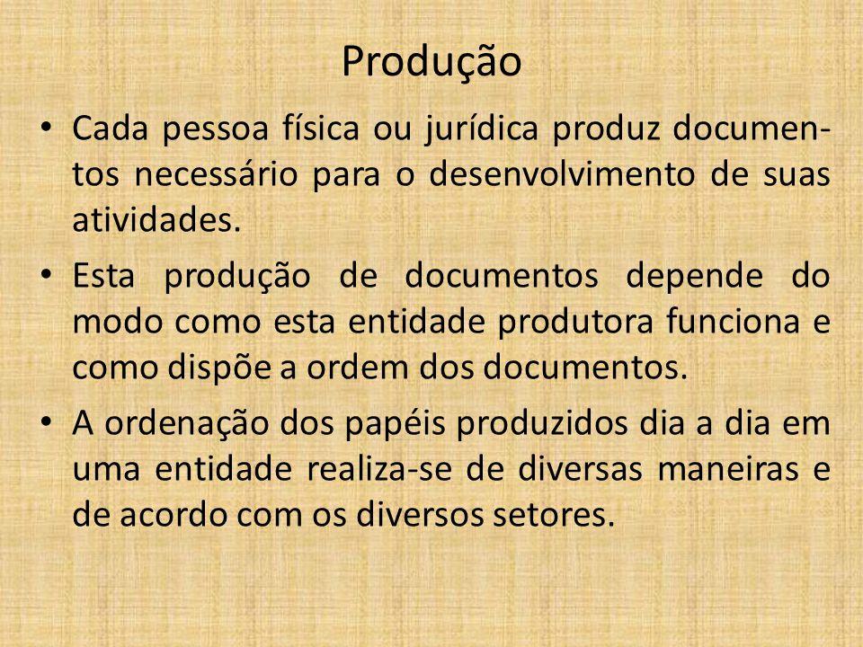 Produção Cada pessoa física ou jurídica produz documen- tos necessário para o desenvolvimento de suas atividades. Esta produção de documentos depende