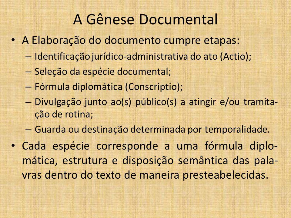 A Gênese Documental A Elaboração do documento cumpre etapas: – Identificação jurídico-administrativa do ato (Actio); – Seleção da espécie documental;