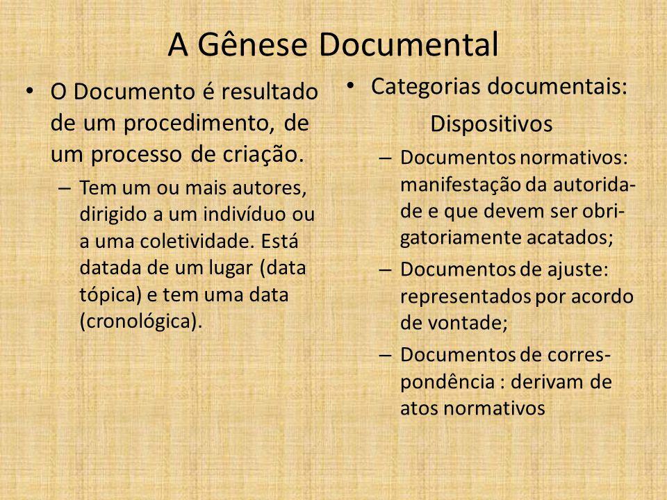 A Gênese Documental O Documento é resultado de um procedimento, de um processo de criação. – Tem um ou mais autores, dirigido a um indivíduo ou a uma