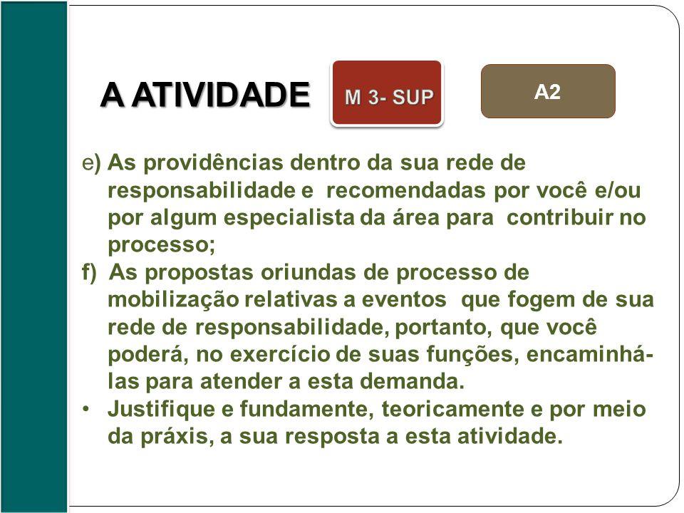 A2 e) As providências dentro da sua rede de responsabilidade e recomendadas por você e/ou por algum especialista da área para contribuir no processo;