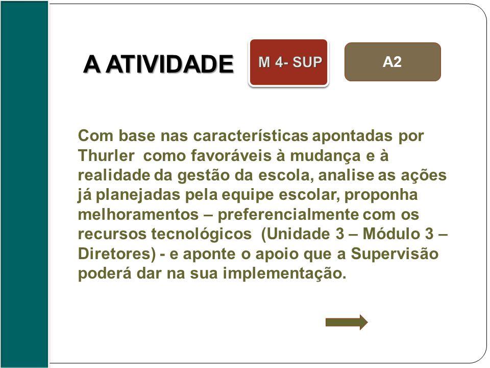 A2 A ATIVIDADE Com base nas características apontadas por Thurler como favoráveis à mudança e à realidade da gestão da escola, analise as ações já pla