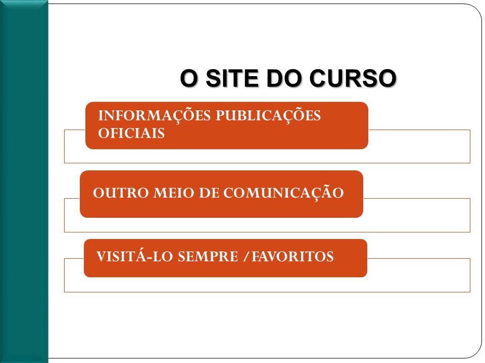 O SITE DO CURSO INFORMAÇÕES PUBLICAÇÕES OFICIAIS OUTRO MEIO DE COMUNICAÇÃO VISITÁ-LO SEMPRE /FAVORITOS