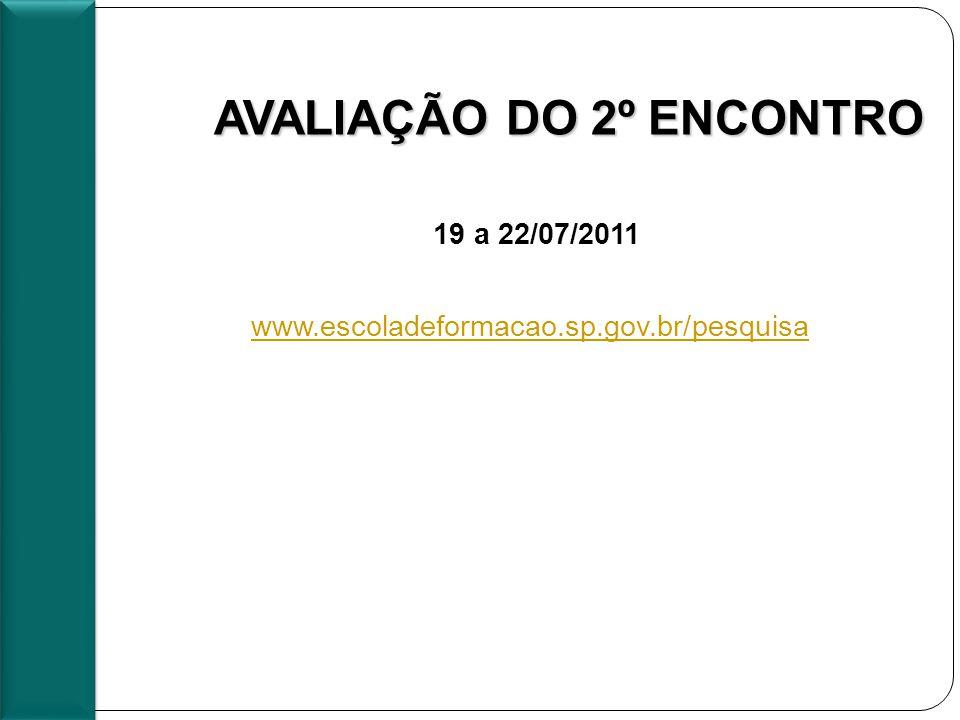 AVALIAÇÃO DO 2º ENCONTRO : www.escoladeformacao.sp.gov.br/pesquisa www.escoladeformacao.sp.gov.br/pesquisa 19 a 22/07/2011