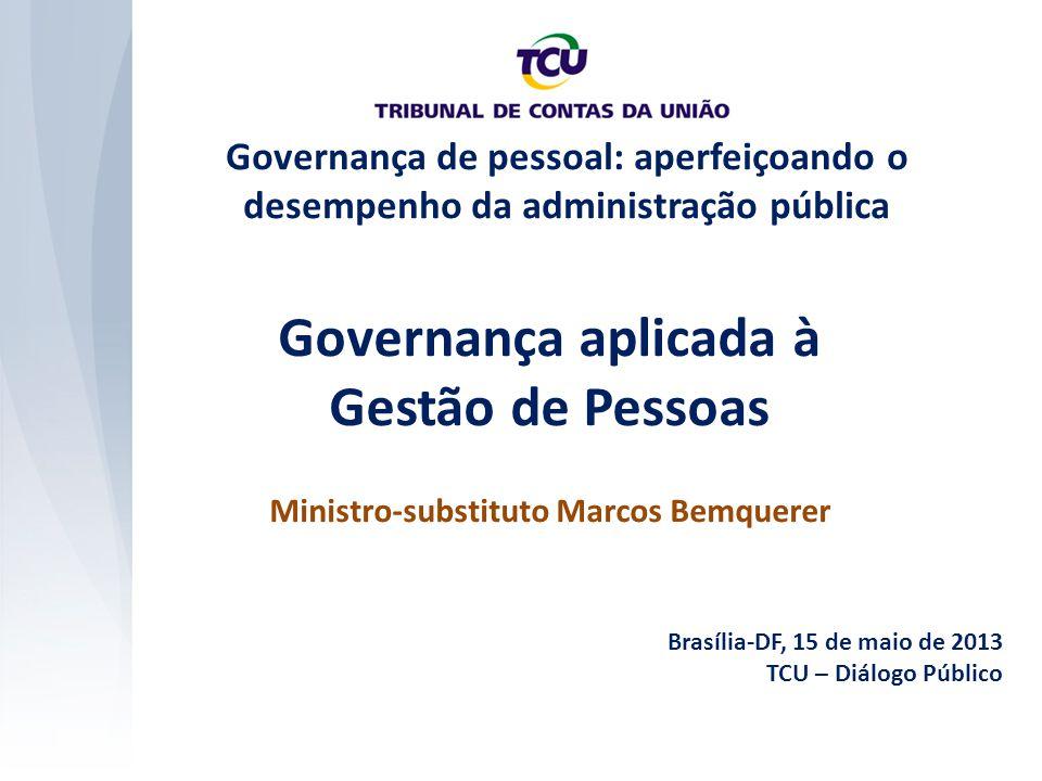 Governança aplicada à Gestão de Pessoas Ministro-substituto Marcos Bemquerer Brasília-DF, 15 de maio de 2013 TCU – Diálogo Público Governança de pessoal: aperfeiçoando o desempenho da administração pública