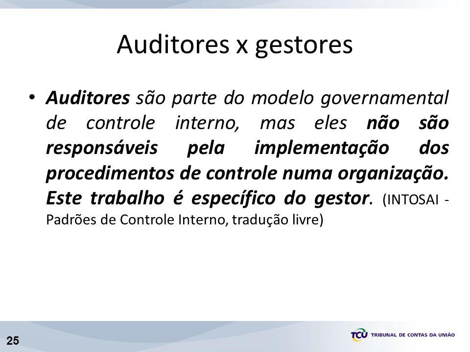 25 Auditores x gestores Auditores são parte do modelo governamental de controle interno, mas eles não são responsáveis pela implementação dos procedimentos de controle numa organização.