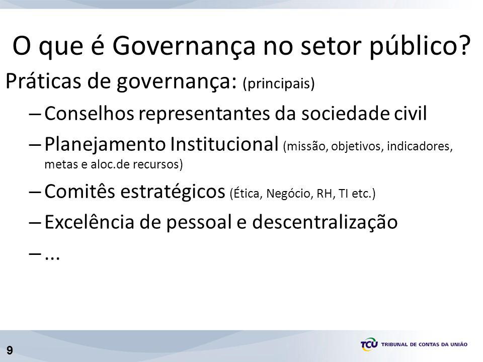 9 Práticas de governança: (principais) – Conselhos representantes da sociedade civil – Planejamento Institucional (missão, objetivos, indicadores, metas e aloc.de recursos) – Comitês estratégicos (Ética, Negócio, RH, TI etc.) – Excelência de pessoal e descentralização –...