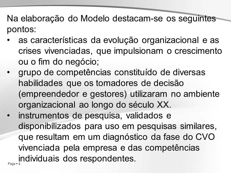 Page 4 Na elaboração do Modelo destacam-se os seguintes pontos: as características da evolução organizacional e as crises vivenciadas, que impulsionam