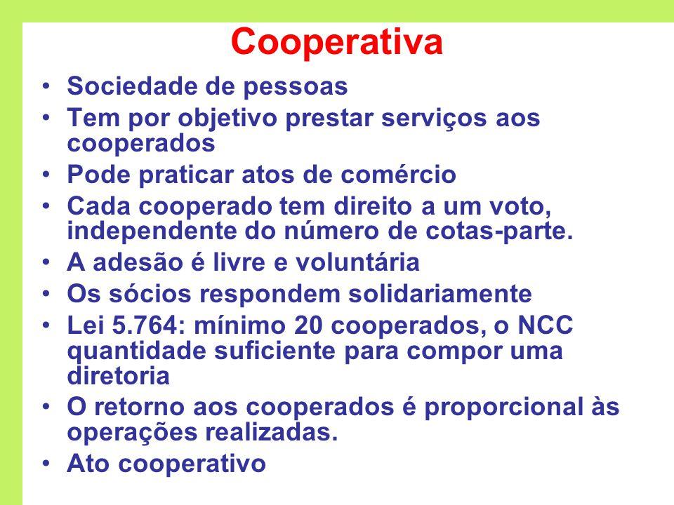 Cooperativa Sociedade de pessoas Tem por objetivo prestar serviços aos cooperados Pode praticar atos de comércio Cada cooperado tem direito a um voto, independente do número de cotas-parte.