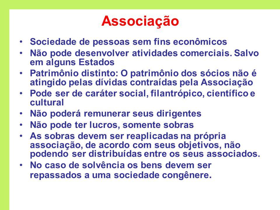 Associação Sociedade de pessoas sem fins econômicos Não pode desenvolver atividades comerciais.