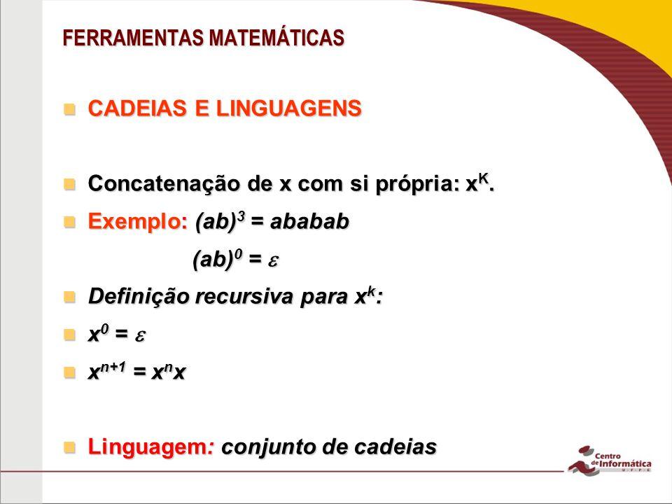 FERRAMENTAS MATEMÁTICAS CADEIAS E LINGUAGENS CADEIAS E LINGUAGENS Concatenação de x com si própria: x K. Concatenação de x com si própria: x K. Exempl