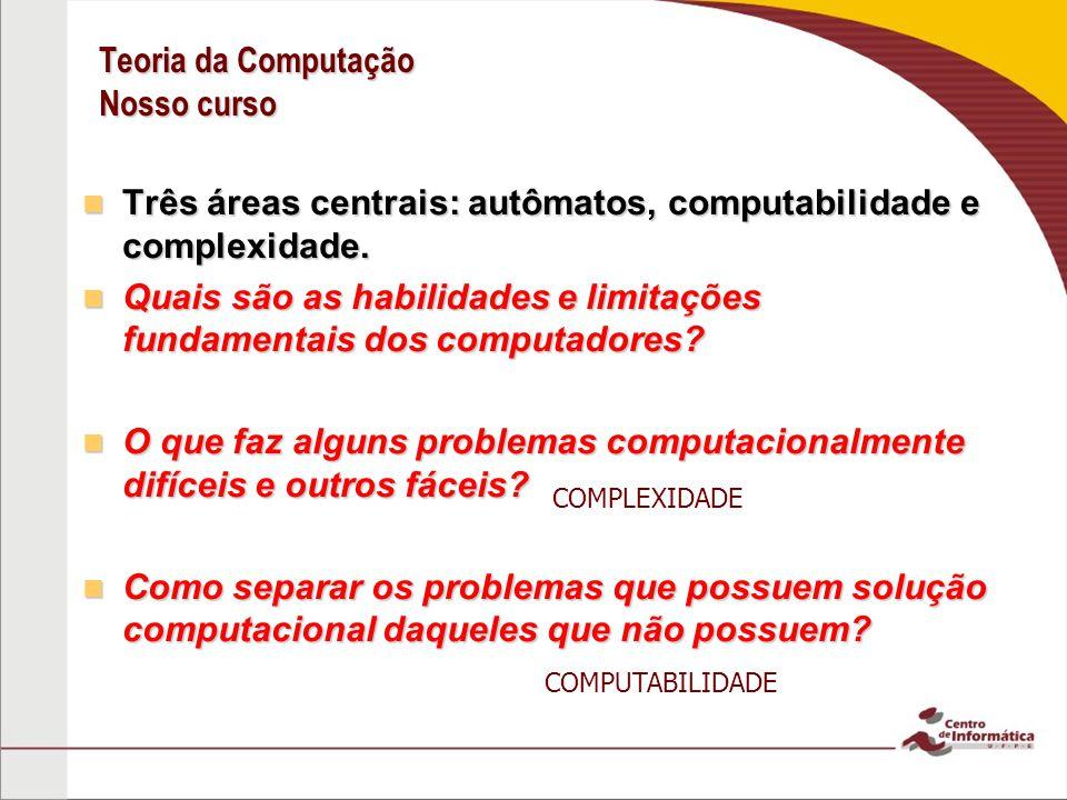 Teoria da Computação Nosso curso Três áreas centrais: autômatos, computabilidade e complexidade. Três áreas centrais: autômatos, computabilidade e com