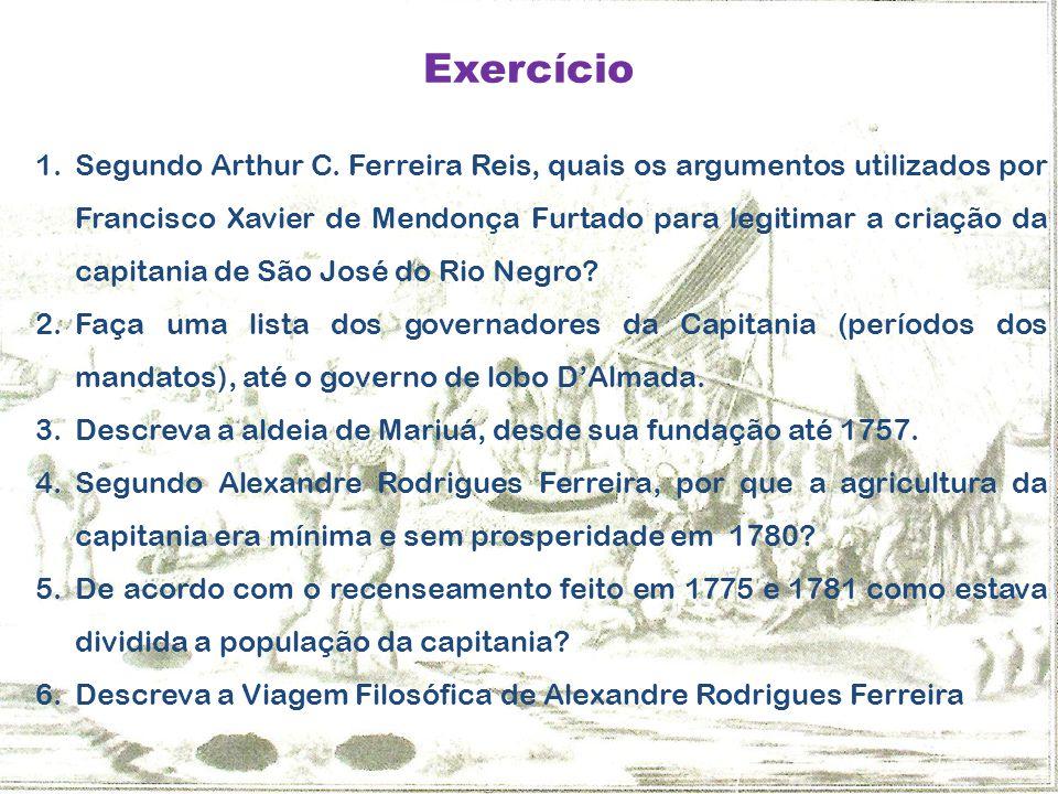 Exercício 1.Segundo Arthur C. Ferreira Reis, quais os argumentos utilizados por Francisco Xavier de Mendonça Furtado para legitimar a criação da capit