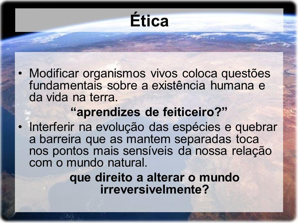 Ética Modificar organismos vivos coloca questões fundamentais sobre a existência humana e da vida na terra. aprendizes de feiticeiro? Interferir na ev