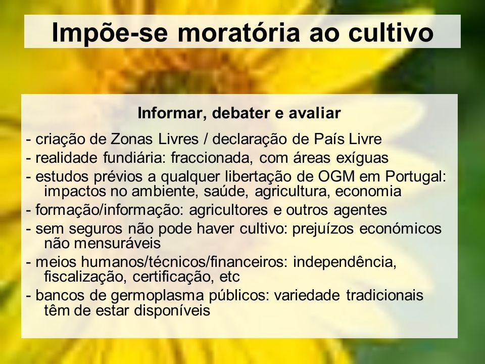 Impõe-se moratória ao cultivo Informar, debater e avaliar - criação de Zonas Livres / declaração de País Livre - realidade fundiária: fraccionada, com