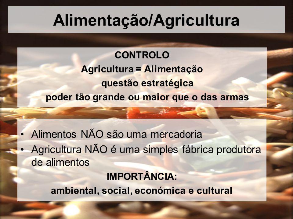 Alimentação/Agricultura CONTROLO Agricultura = Alimentação questão estratégica poder tão grande ou maior que o das armas Alimentos NÃO são uma mercadoria Agricultura NÃO é uma simples fábrica produtora de alimentos IMPORTÂNCIA: ambiental, social, económica e cultural