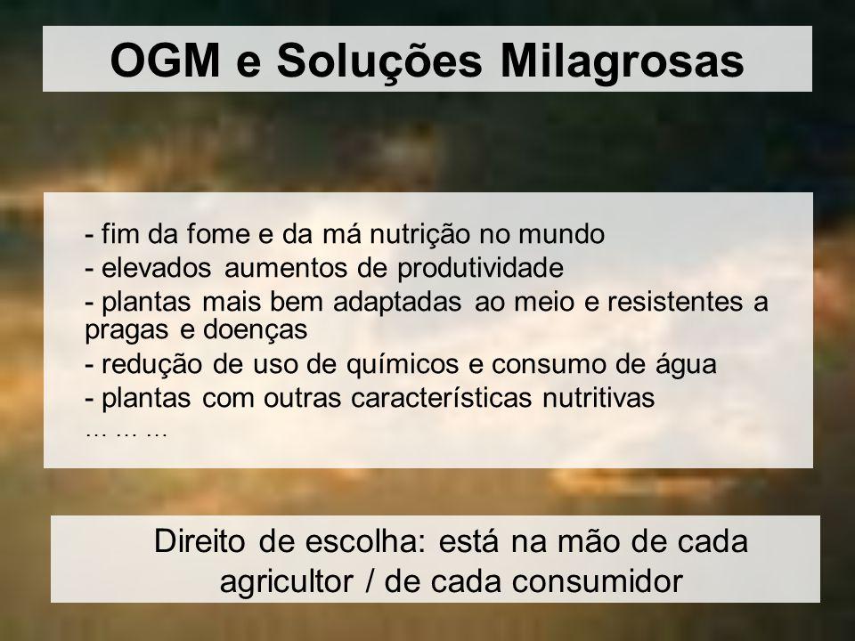 OGM e Soluções Milagrosas - fim da fome e da má nutrição no mundo - elevados aumentos de produtividade - plantas mais bem adaptadas ao meio e resisten