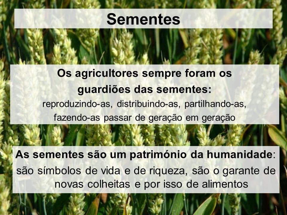 Sementes Os agricultores sempre foram os guardiões das sementes: reproduzindo-as, distribuindo-as, partilhando-as, fazendo-as passar de geração em geração As sementes são um património da humanidade: são símbolos de vida e de riqueza, são o garante de novas colheitas e por isso de alimentos