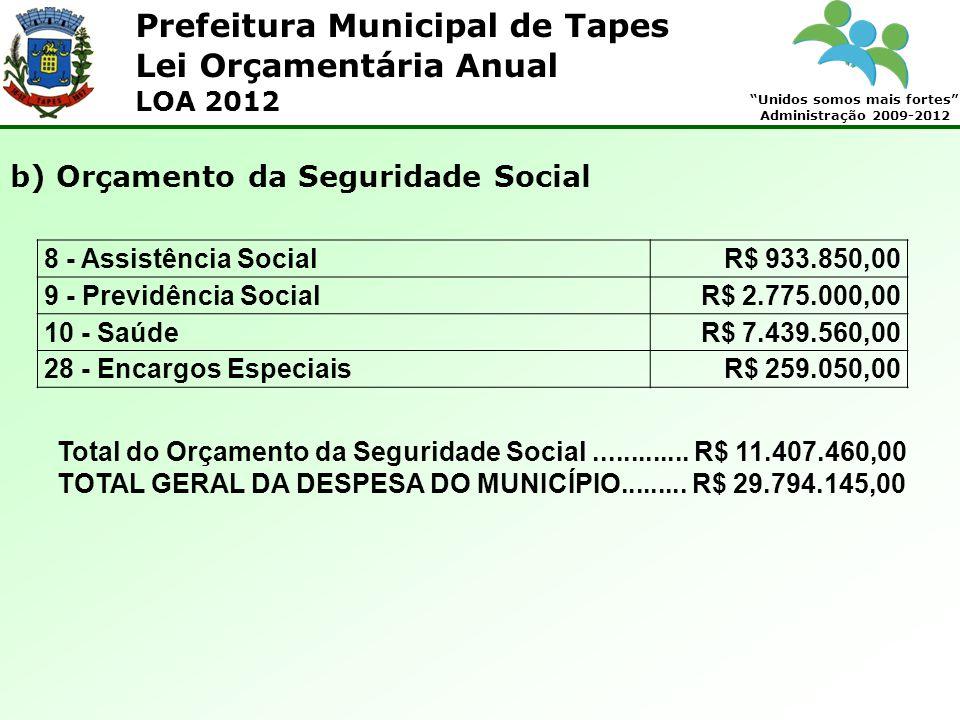 Prefeitura Municipal de Tapes Unidos somos mais fortes Administração 2009-2012 Lei Orçamentária Anual LOA 2012 8 - Assistência SocialR$ 933.850,00 9 - Previdência SocialR$ 2.775.000,00 10 - SaúdeR$ 7.439.560,00 28 - Encargos EspeciaisR$ 259.050,00 b) Orçamento da Seguridade Social Total do Orçamento da Seguridade Social.............