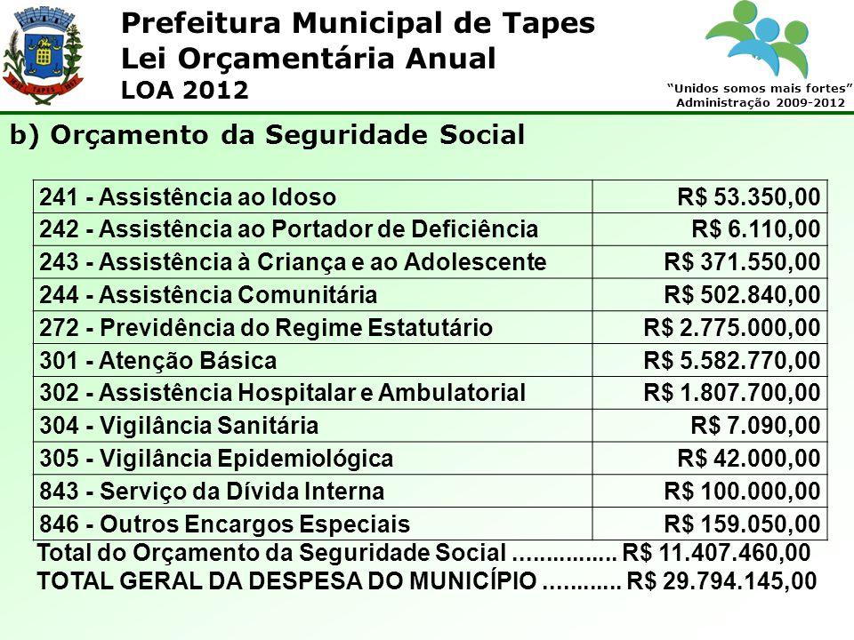 Prefeitura Municipal de Tapes Unidos somos mais fortes Administração 2009-2012 Lei Orçamentária Anual LOA 2012 241 - Assistência ao IdosoR$ 53.350,00