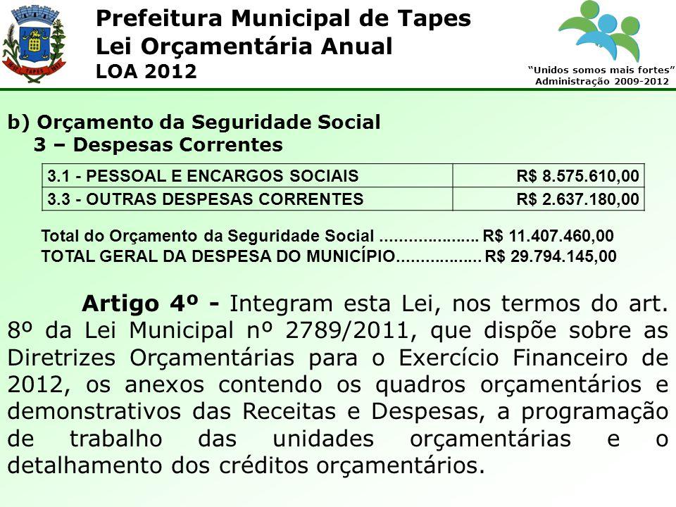 Prefeitura Municipal de Tapes Unidos somos mais fortes Administração 2009-2012 Lei Orçamentária Anual LOA 2012 Artigo 4º - Integram esta Lei, nos term