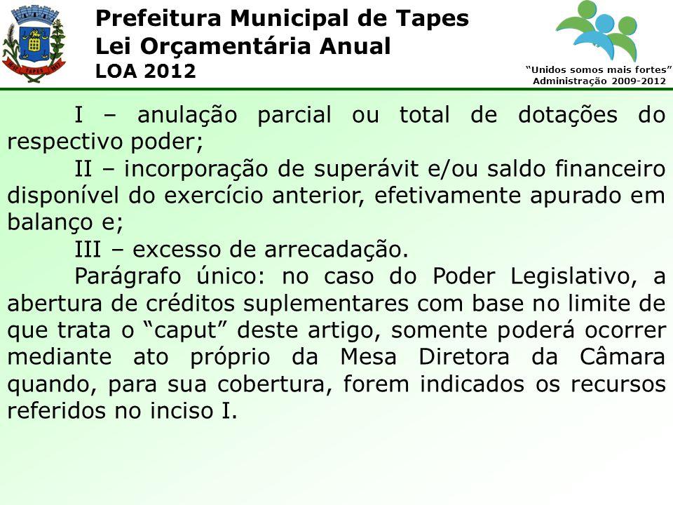 Prefeitura Municipal de Tapes Unidos somos mais fortes Administração 2009-2012 Lei Orçamentária Anual LOA 2012 I – anulação parcial ou total de dotaçõ