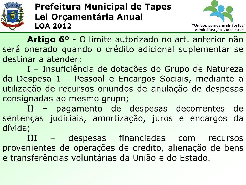 Prefeitura Municipal de Tapes Unidos somos mais fortes Administração 2009-2012 Lei Orçamentária Anual LOA 2012 Artigo 6º - O limite autorizado no art.