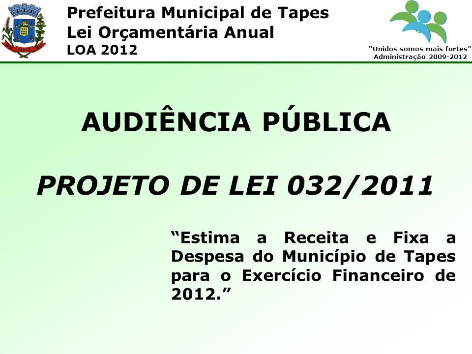 Prefeitura Municipal de Tapes Unidos somos mais fortes Administração 2009-2012 Lei Orçamentária Anual LOA 2012 Artigo 1 o - Esta Lei estima a receita e fixa a despesa do município de Tapes para o exercício financeiro de 2012, nos termos do art.