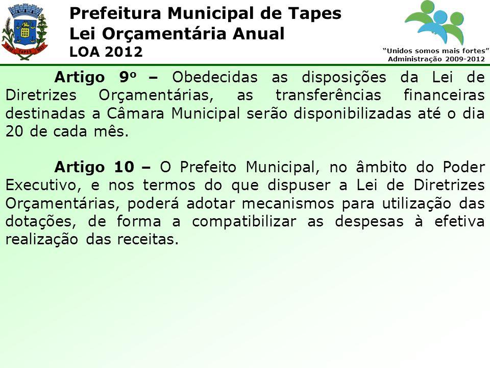 Prefeitura Municipal de Tapes Unidos somos mais fortes Administração 2009-2012 Lei Orçamentária Anual LOA 2012 Artigo 9 o – Obedecidas as disposições