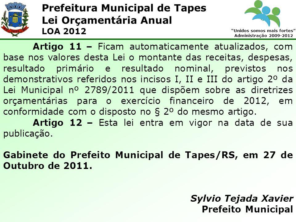 Prefeitura Municipal de Tapes Unidos somos mais fortes Administração 2009-2012 Lei Orçamentária Anual LOA 2012 Artigo 11 – Ficam automaticamente atual