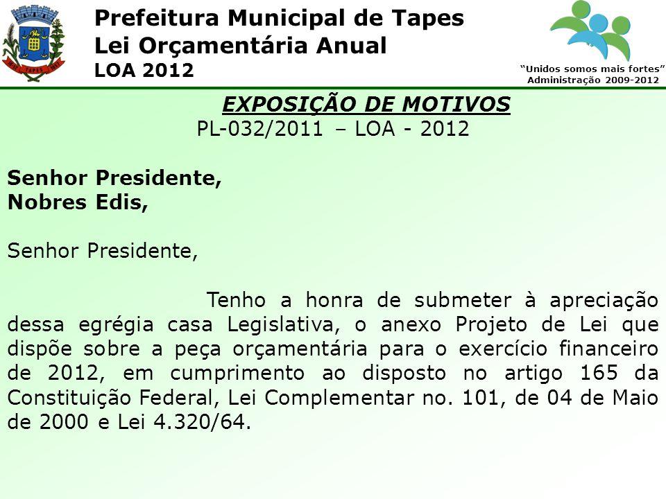 Prefeitura Municipal de Tapes Unidos somos mais fortes Administração 2009-2012 Lei Orçamentária Anual LOA 2012 EXPOSIÇÃO DE MOTIVOS PL-032/2011 – LOA