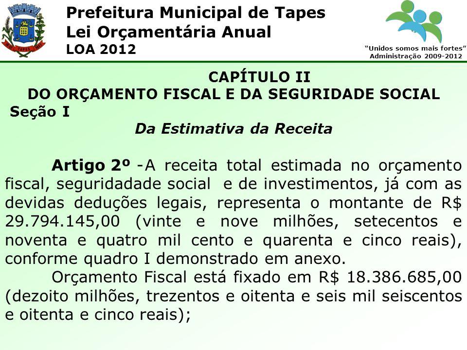 Prefeitura Municipal de Tapes Unidos somos mais fortes Administração 2009-2012 Lei Orçamentária Anual LOA 2012 CAPÍTULO II DO ORÇAMENTO FISCAL E DA SE
