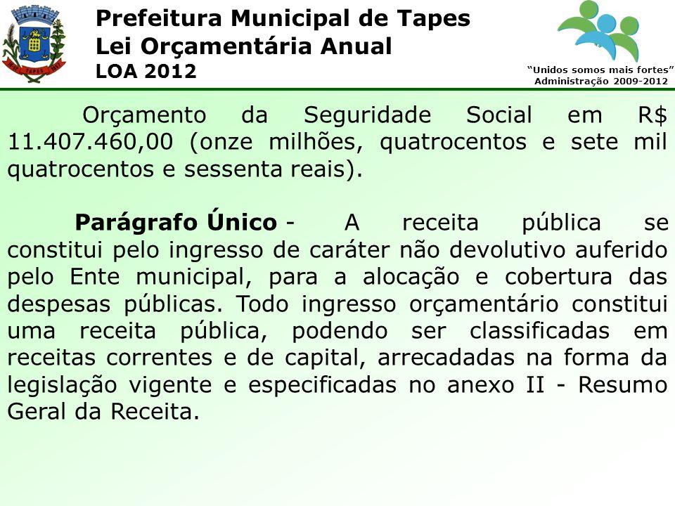 Prefeitura Municipal de Tapes Unidos somos mais fortes Administração 2009-2012 Lei Orçamentária Anual LOA 2012 Orçamento da Seguridade Social em R$ 11