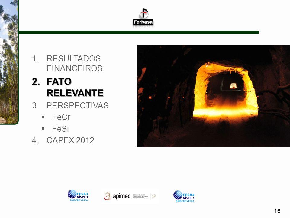 16 1.RESULTADOS FINANCEIROS 2.FATO RELEVANTE 3.PERSPECTIVAS FeCr FeSi 4.CAPEX 2012