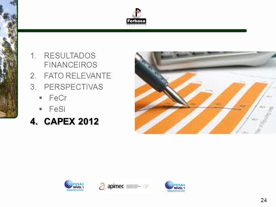 24 1.RESULTADOS FINANCEIROS 2.FATO RELEVANTE 3.PERSPECTIVAS FeCr FeSi 4.CAPEX 2012