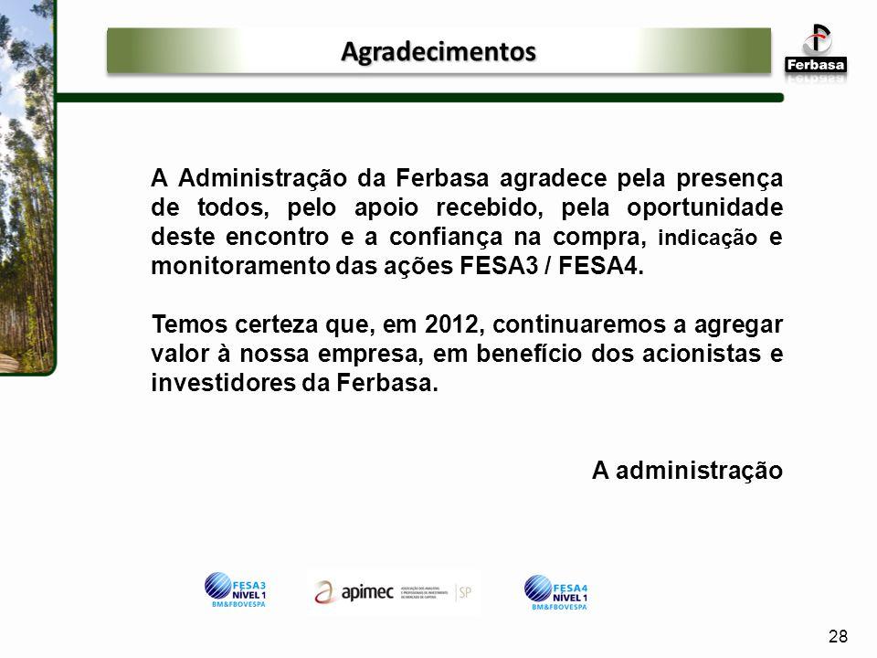 A Administração da Ferbasa agradece pela presença de todos, pelo apoio recebido, pela oportunidade deste encontro e a confiança na compra, indicação e monitoramento das ações FESA3 / FESA4.