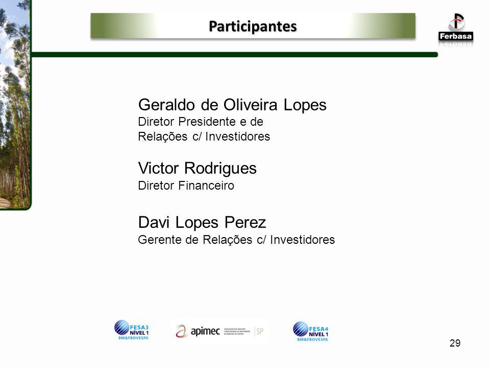 29 Geraldo de Oliveira Lopes Diretor Presidente e de Relações c/ Investidores Victor Rodrigues Diretor Financeiro Davi Lopes Perez Gerente de Relações c/ Investidores