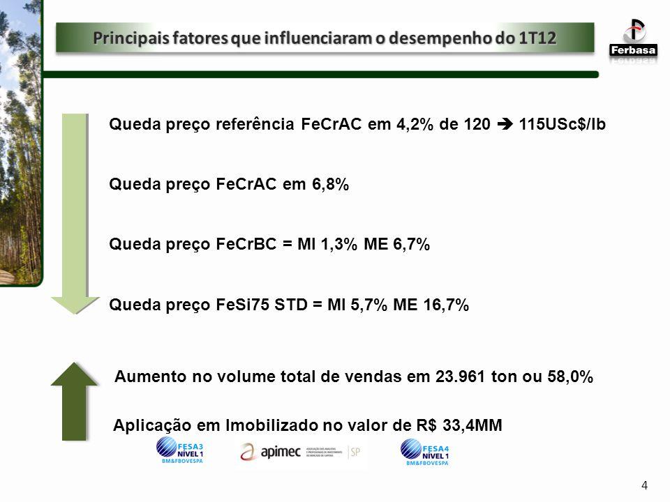 4 Queda preço referência FeCrAC em 4,2% de 120 115USc$/lb Queda preço FeCrAC em 6,8% Queda preço FeCrBC = MI 1,3% ME 6,7% Queda preço FeSi75 STD = MI 5,7% ME 16,7% Aplicação em Imobilizado no valor de R$ 33,4MM Aumento no volume total de vendas em 23.961 ton ou 58,0%