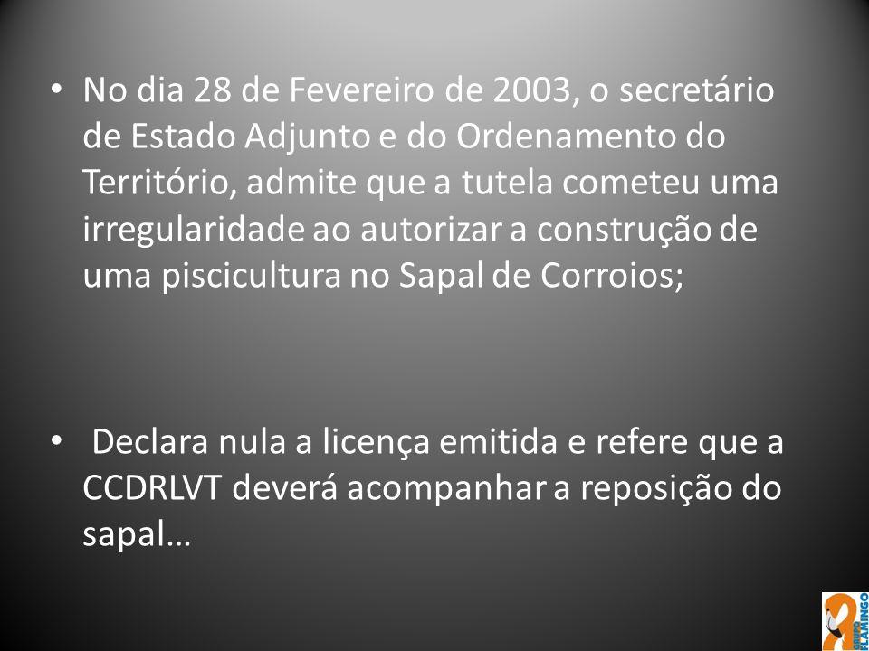 No dia 28 de Fevereiro de 2003, o secretário de Estado Adjunto e do Ordenamento do Território, admite que a tutela cometeu uma irregularidade ao autor