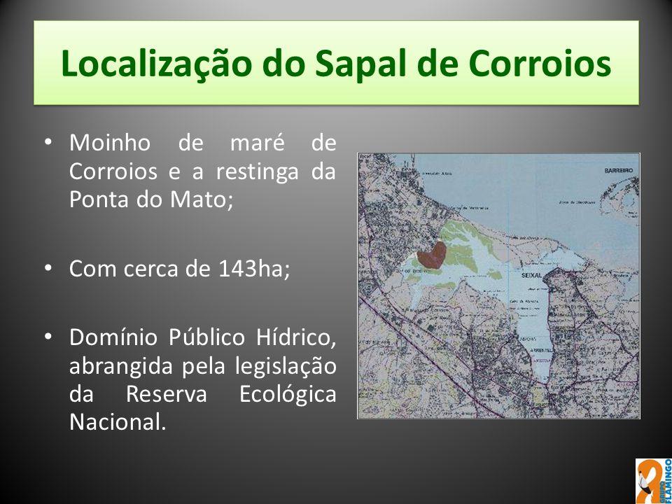 Localização do Sapal de Corroios Moinho de maré de Corroios e a restinga da Ponta do Mato; Com cerca de 143ha; Domínio Público Hídrico, abrangida pela
