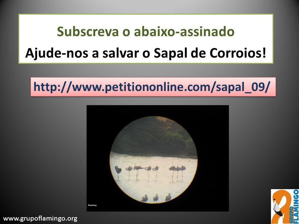 Subscreva o abaixo-assinado Ajude-nos a salvar o Sapal de Corroios! http://www.petitiononline.com/sapal_09/ www.grupoflamingo.org