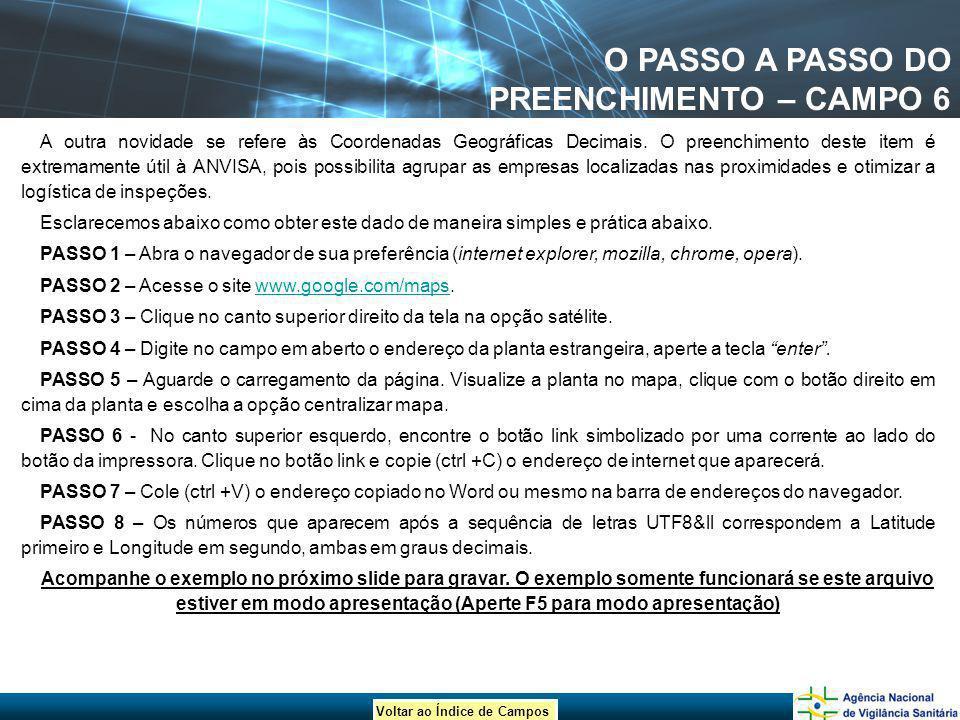 Voltar ao Índice de Campos O PASSO A PASSO DO PREENCHIMENTO – CAMPO 6 A outra novidade se refere às Coordenadas Geográficas Decimais. O preenchimento