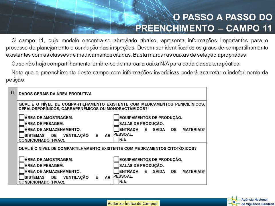 Voltar ao Índice de Campos O PASSO A PASSO DO PREENCHIMENTO – CAMPO 11 O campo 11, cujo modelo encontra-se abreviado abaixo, apresenta informações imp